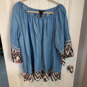 Ali Miles chambray peasant tunic blouse size 2X